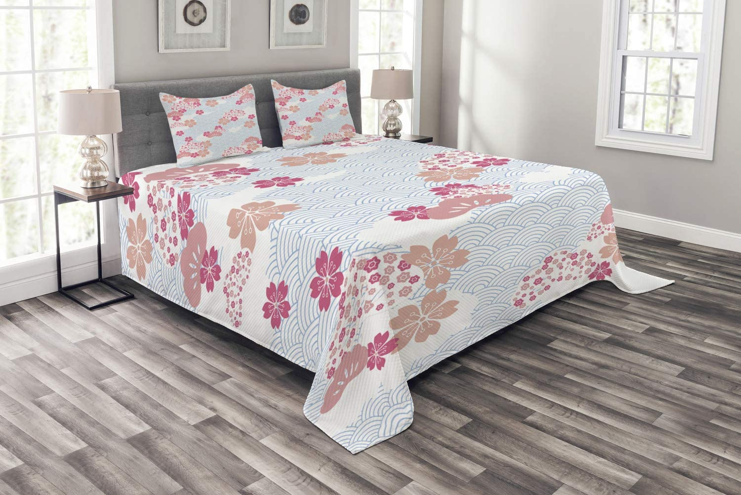 Ambesonne Japanese Bedspread, Squama Pattern with Cherry Blossom Land of The Rising Sun Pattern, Decorative Quilted 3 Piece Coverlet Set with 2 Pillow Shams, Queen Size, Dark Coral