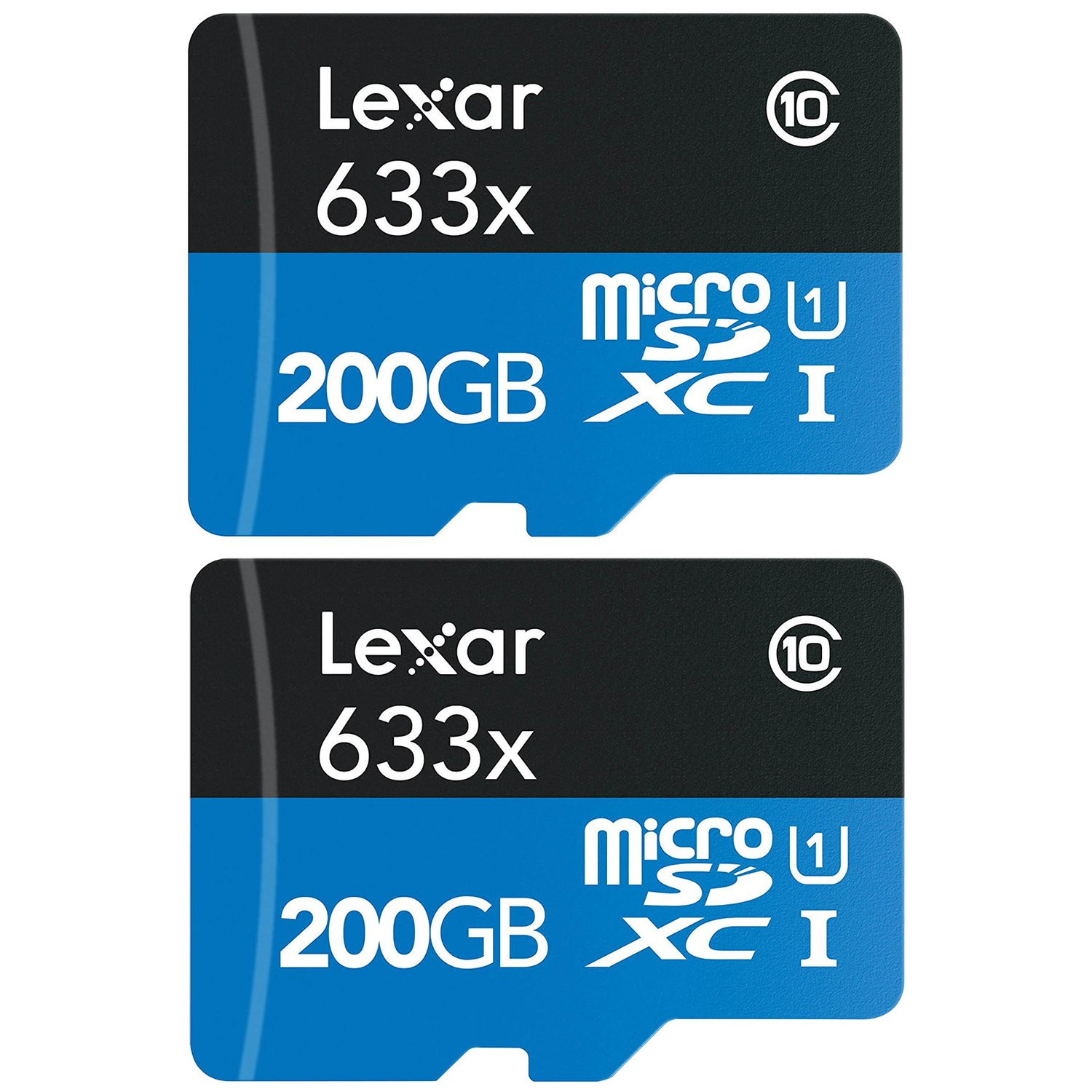 2 Pack Lexar High-Performance microSDXC 633x 200GB Class 10 UHS-I Memory Card (Certified Refurbished)