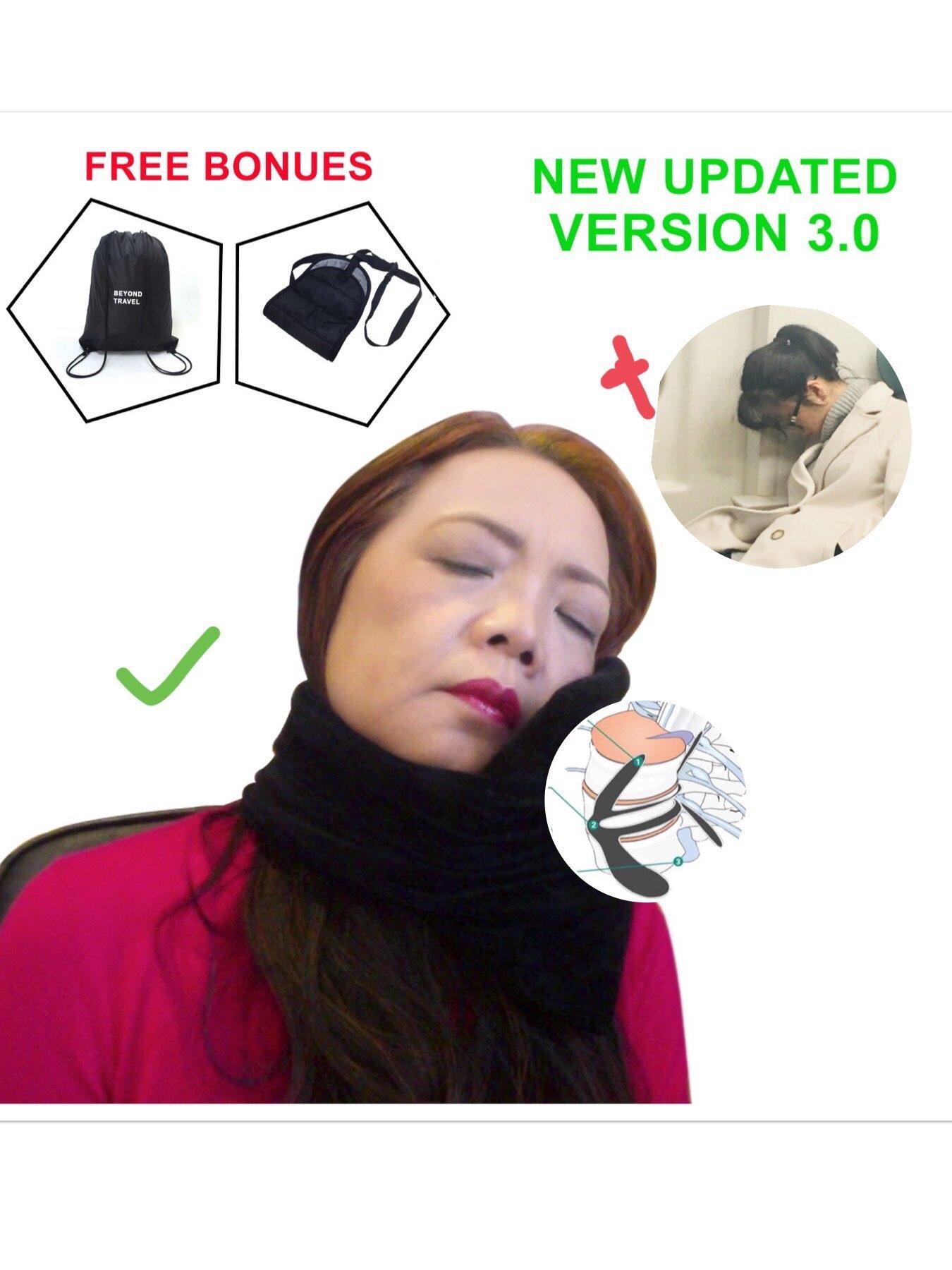 Travel Pillow-Travel Scarf Neck Pillows for Stiff Neck-Head-Support-Pillow for Travel-Mirofiber Velvet-Allergy Free-Best Pillow for Airplane Travel-Foot-Rest&Bag Bonus Set,Travel Accessories Kit