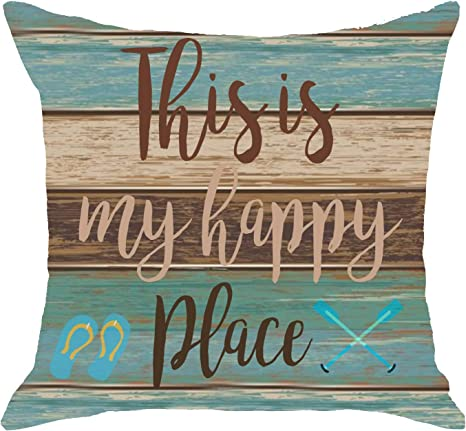 Amazon Com Vintage Wood Texture This Is My Happy Place Paddle Flip Flops Body Burlap Throw Pillow Cover Couch Sofa Living Room Decorative Square 18x18 Inches Home Kitchen