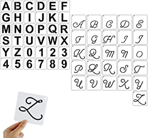 ZOCONE 62 PCS Letter and Number Stencils, Reusable Plastic Letter Alphabet Number Templates, Art Craft Stencils for Painting on Wall, Reusable Font Templates for Home Craft Decor, DIY Art Projects