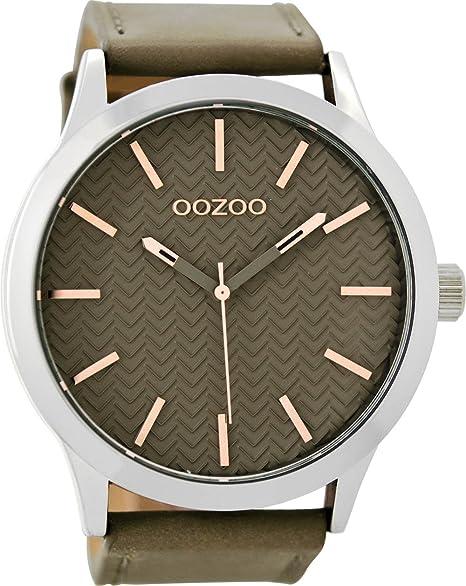 Oozoo Reloj de hombre con piel de banda 50 Mm Beige/Beige C9010