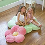 "Girls Flower Floor Pillow Seating Cushion, for a Reading Nook, Bed Room, or Watching TV. Softer and More Plush Than Area Rug or Foam Mat. 35"", Pink"