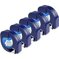 Remplacez Dymo Ruban, 5x Recharge Dymo LetraTag Ruban Plastique 12 mm x 4 m Noir sur Blanc, Compatible pour Dymo LetraTag LT-100H LT-100T Étiqueteuse Portable