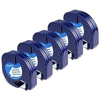 Dymo Ruban, 5x Recharge Dymo LetraTag Ruban Plastique 12 mm x 4 m Noir sur Blanc, Compatible pour Dymo LetraTag LT-100H LT-100T Étiqueteuse Portable