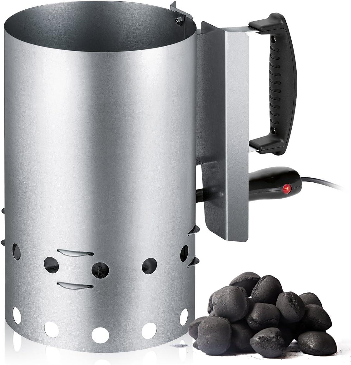 Encendedor eléctrico de Barbacoa para carbón o briquetas, Recipiente de Acero Inoxidable con Capacidad 1,5 Kg, 600W, tendrás preparada de Forma fácil y Segura Unas brasas de carbón en 10-20 Minutos