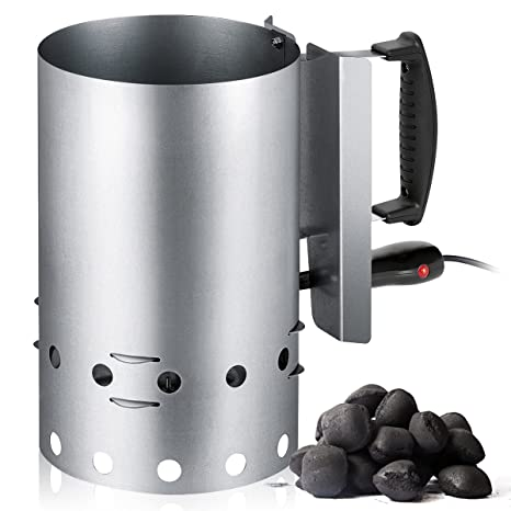 Encendedor eléctrico de Barbacoa para carbón o briquetas, Recipiente de Acero Inoxidable con Capacidad 1,5 Kg, 600W, tendrás preparada de Forma fácil ...