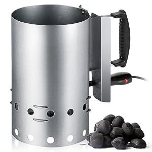 Encendedor eléctrico de barbacoa para carbón o briquetas, recipiente de...
