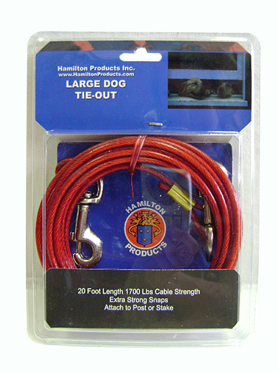 Hamilton 20-Feet Dog Tie Out Plastic Coated Cable, Large