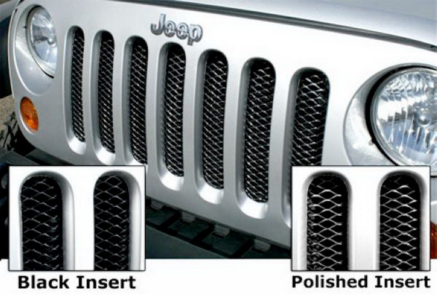 RAMPAGE PRODUCTS 86513 Gloss Black One-Piece 3D Grille with Clear Coat Polished Highlights for 2007-2018 Jeep Wrangler JK