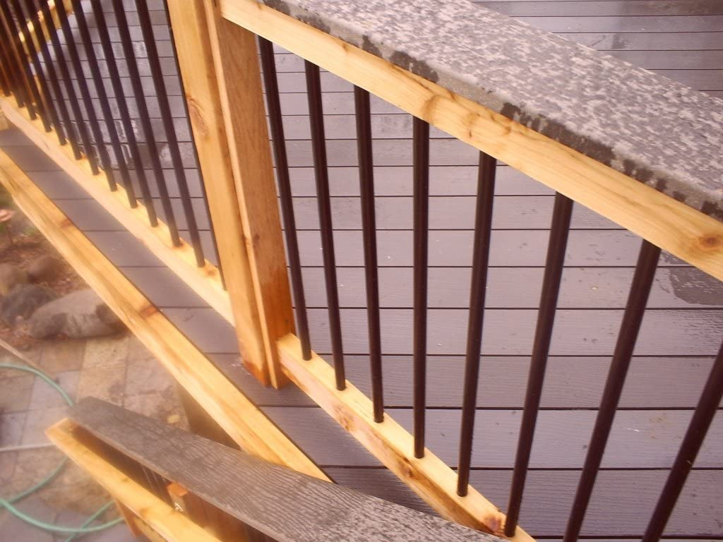 MTB 3//4 Inch Round x 32 Inch Length Balusters Straight Vertical Black Coated for Deck//Porch Pack of 10
