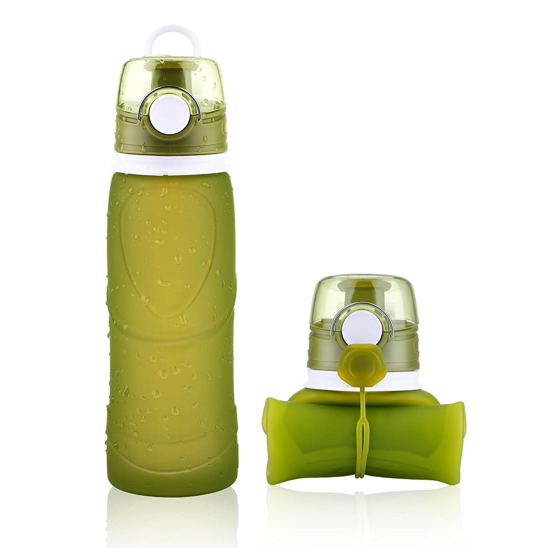 Faltbare Silikon Wasserflasche BPA Frei,750ML Tragbare und ...