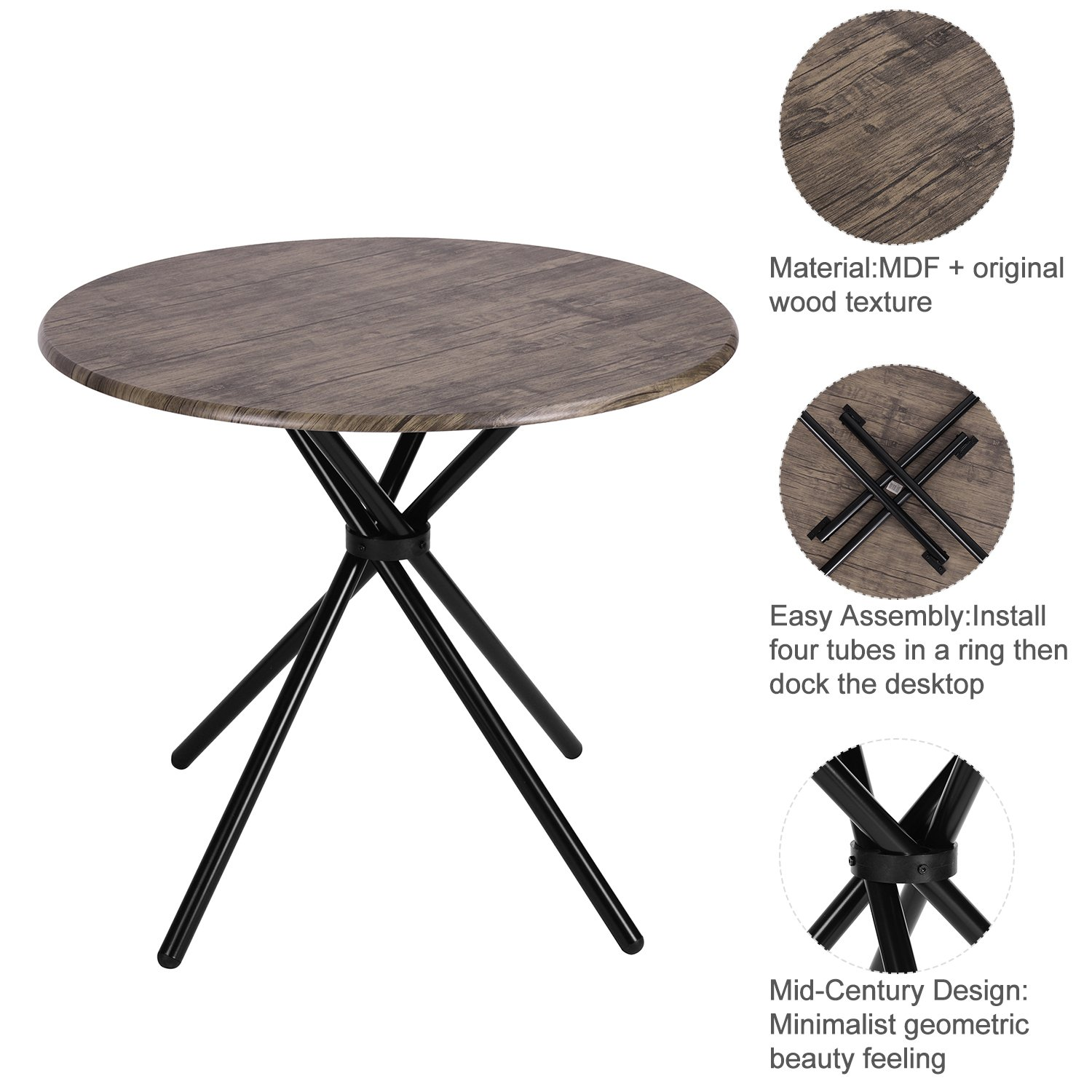 Kitchen Dining Table Industrial Brown Round Mid-Century Wood Coffee Table Office Home Easy-Assembly 35.4x35.4x29.5 Inches for for Living Drawing Receiving Room by Coavas (Image #3)