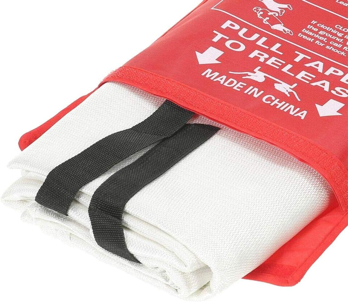 BE-TOOL Fire Blanket Easy to Install /& Quick to Deploy in Emergency Quick Release Safety Fire Blanket in Case with Loops Ideal for Kitchen Home Office 2 x 2 m