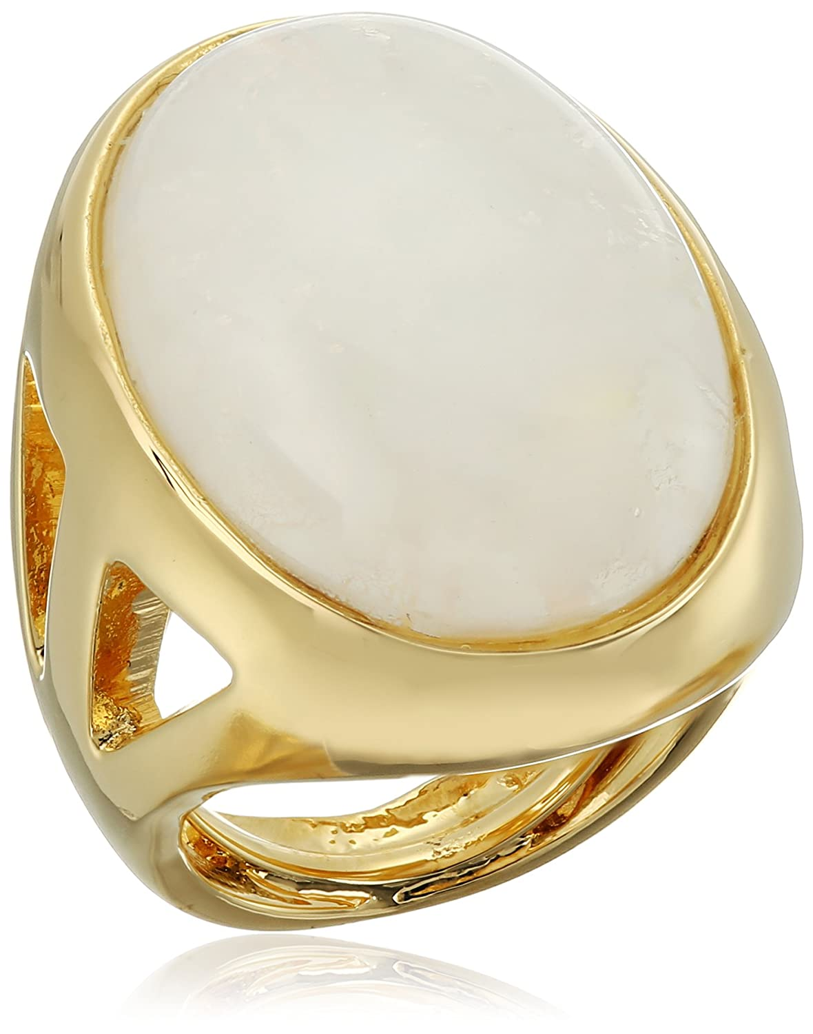 Kenneth Jay Lane Polished Gold Open Side and White Quartz Center Ring, Size 5-7 7383RPGWQ