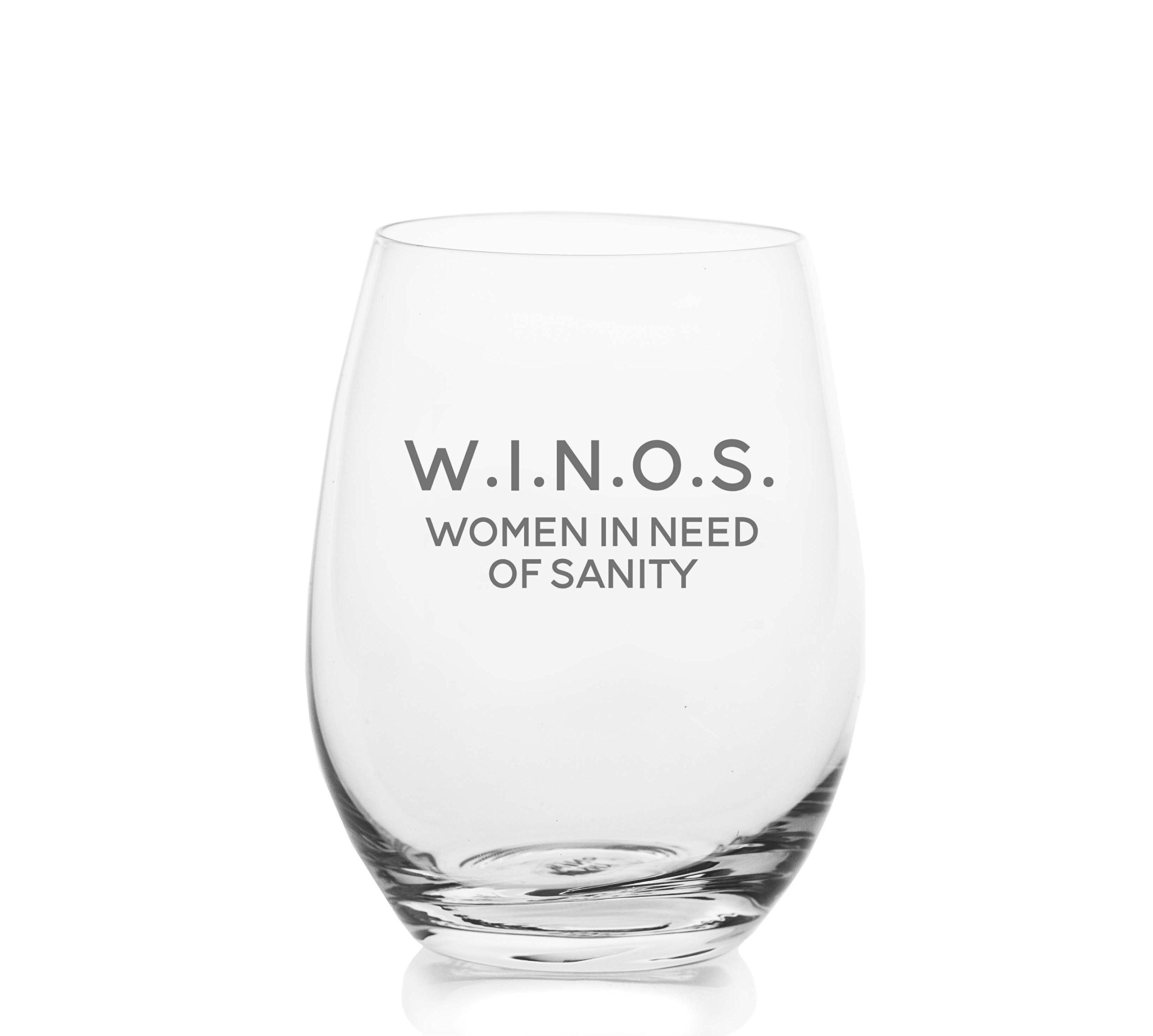 W.I.N.O.S. Women In Need Of Sanity – Cute Funny Stemless Wine Glass, Large 16 Ounce Size, Etched Sayings, Gift Box