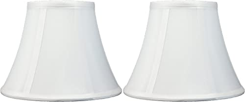 Urbanest Set of 2 Softback Bell Lampshade, Faux Silk, 5-inch by 9-inch by 7-inch, Off White, Spider-Fitter