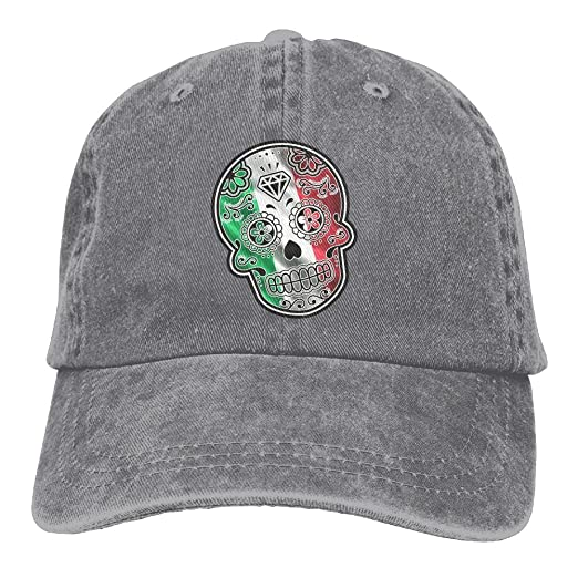 32ac8b169e52b Mexican Day of The Dead Sugar Skull Dad Hat Adjustable Denim Hat Classic  Baseball Cap at Amazon Men s Clothing store
