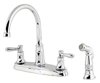 2 Handle Kitchen Faucet | Pfister Harbor 2 Handle Kitchen Faucet With Side Spray Polished