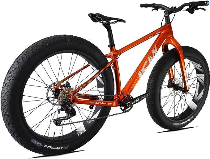 ICAN 26er Grasa Bicicleta Carbono Carretera de montaña nieve/16/18/20 cm BSA 120 mm Shimano M610 único Cadena 10 velocidades: Amazon.es: Deportes y aire libre