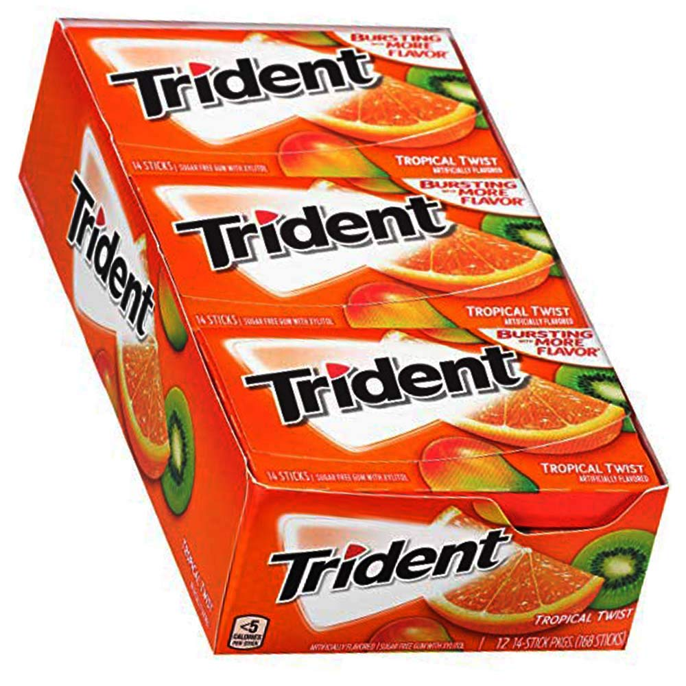 Trident Tropical Twist Sugar Free Gum - with Xylitol - 12 Packs (New Version)
