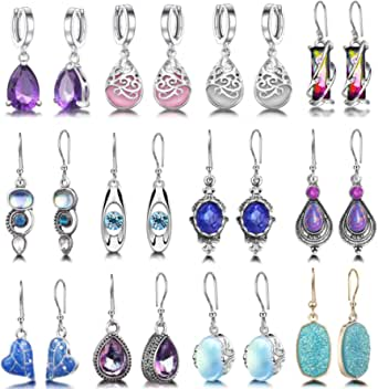 12 Pairs Teardrop Crystal Drop Dangle Earrings for Women Girls Cubic Zirconia Hoop Earring Threader Earrings Jewelry Set Christmas Gifts