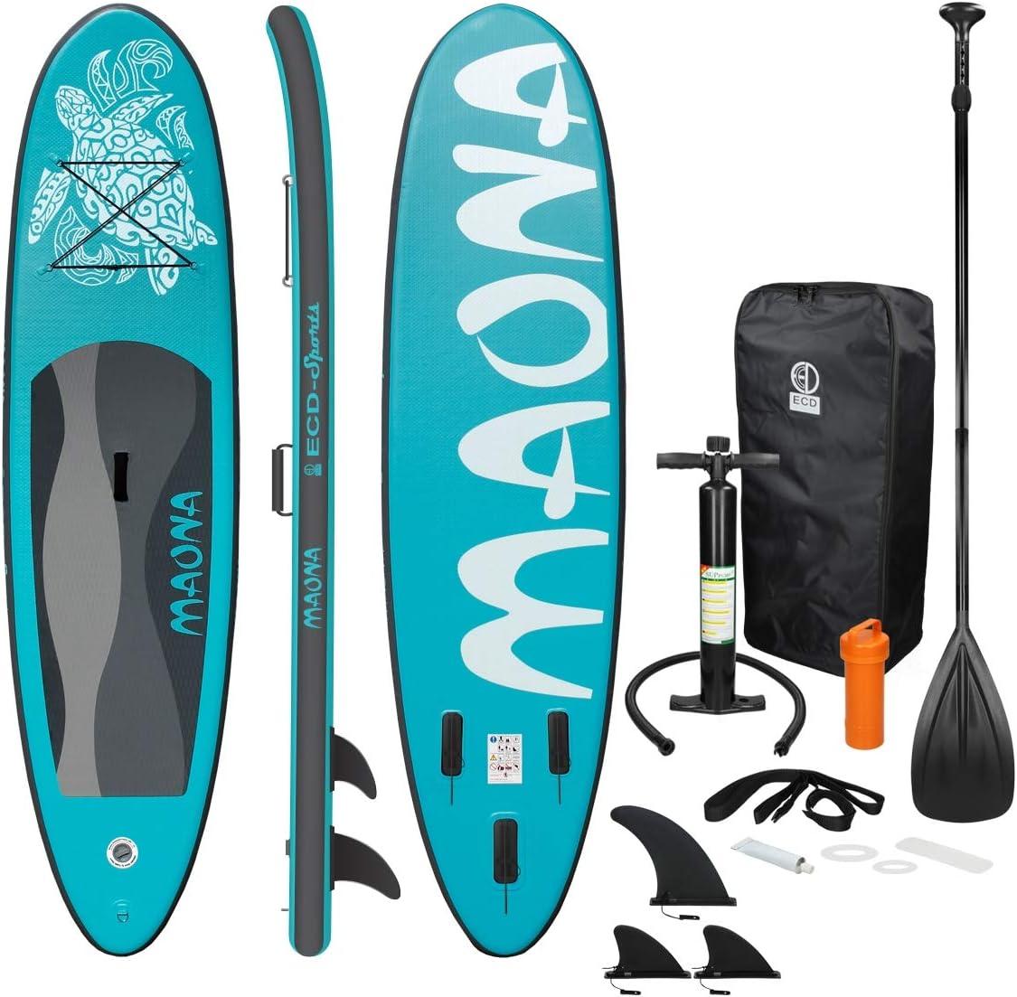 ECD Germany Tabla Hinchable Maona Paddle Surf/Sup 308 x 76 x 10 cm Turquesa Stand up Paddle Board PVC hasta 120kg 3 Aletas deslizantes Diferentes Modelos Incl Paleta Aluminio Bomba y Accesorios