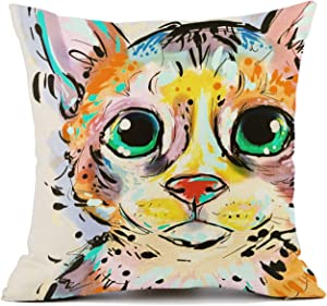 Redland Art Cute Pet Cat Throw Pillow Covers Cotton Linen Sofa Decorative Cushion Cases for Home Decor 18×18 Inch