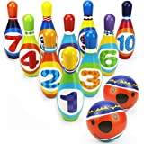 Storio High Quality Soft Foam Colorful Bowling Set for Kids Kit Sports Game Set with 10 Pins & 2 Balls Educational Learning Toy for Kids - Bowling Set