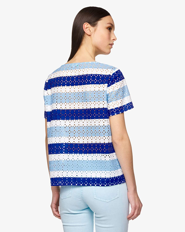 United Colors of Benetton vardaglig skjorta för kvinnor Blusa Blau (Bianco/Blu 81n)
