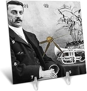 3dRose Tintype Man with Trumpet Victorian Era Circa 1870s Musician - Desk Clocks (dc_334986_1)