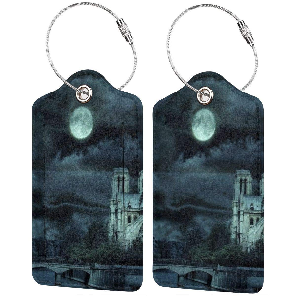 Castle Night Luggage Tag Label Travel Bag Label With Privacy Cover Luggage Tag Leather Personalized Suitcase Tag Travel Accessories