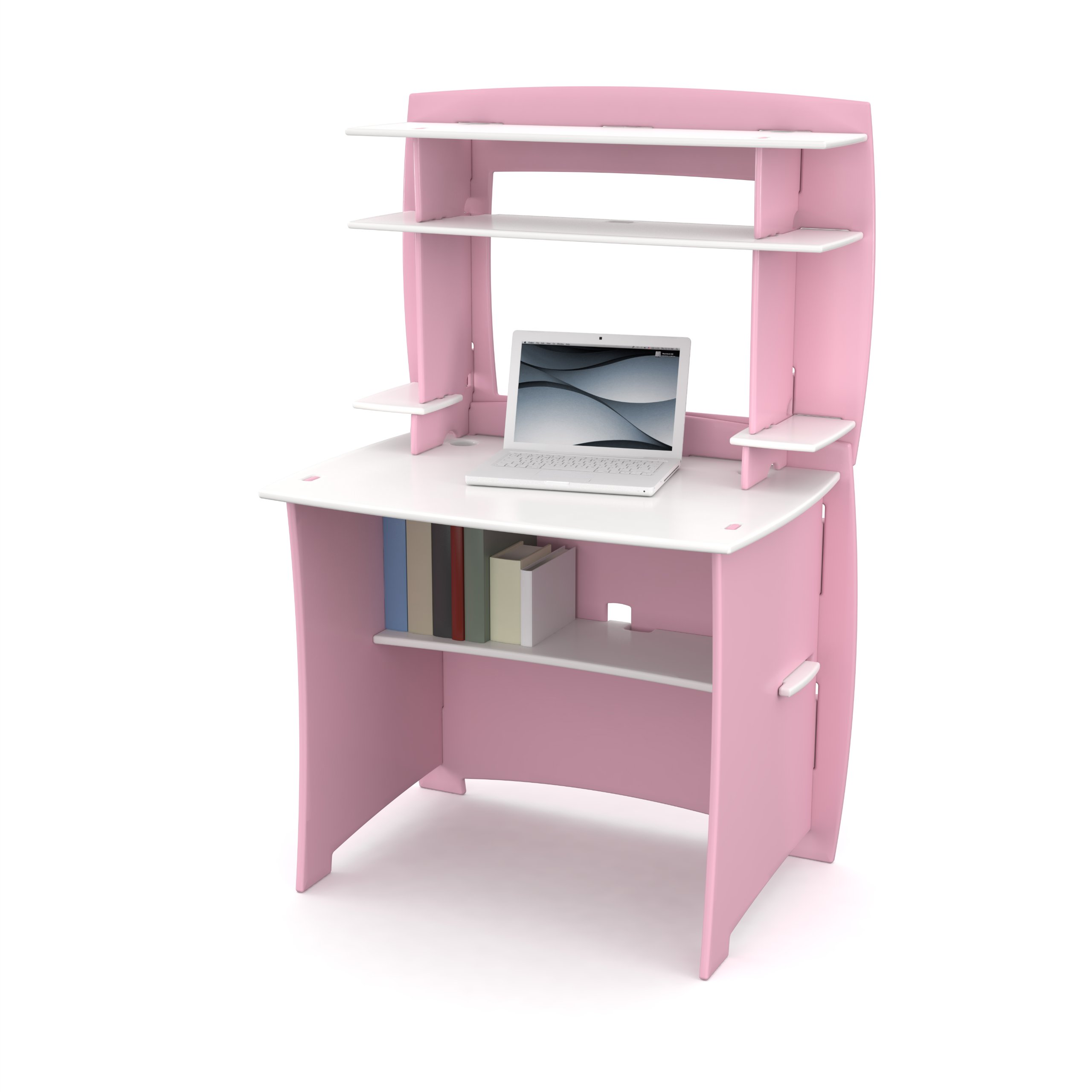 Legaré Furniture Children's Desk with Hutch and Adjustable Shelves, Pink and White by Legare