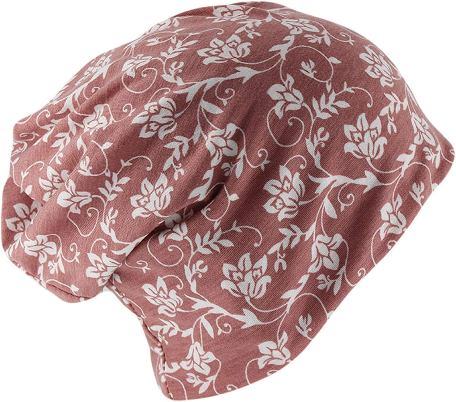 Women Floral Beanies Scarf Two Used Female Caps Casual Adult Cotton Warm Autumn Bonnet Girls Hats