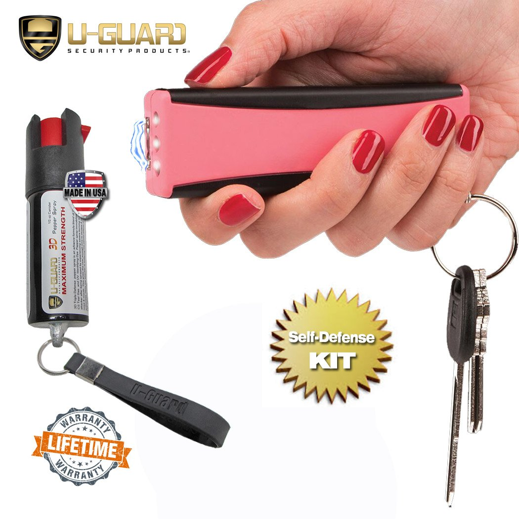 Smallest Stun Gun Personal Alarm Keychain Flashlight Kit Taser And Pepper Spray Combo Non Lethal Self Defense Weapons Compact Electric Tazers Mini Pepper Spray For Men Or Women Self-Defense (PINK)