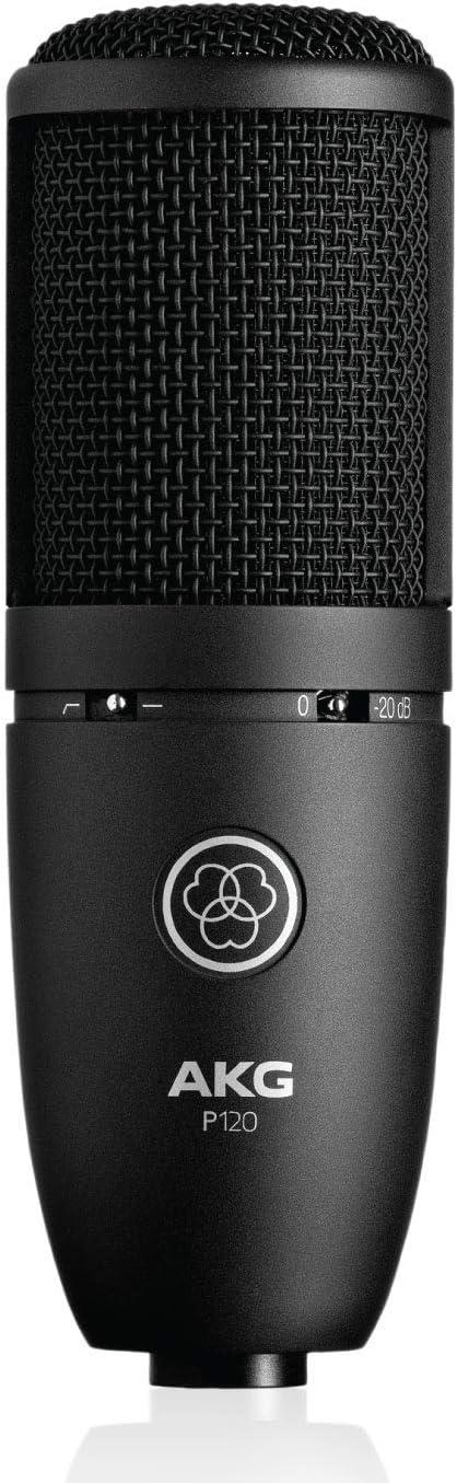 """Akg P120 Microfono a Condensatore con Diaframma da 2/3"""" Ideale per Home Studio, Nero"""