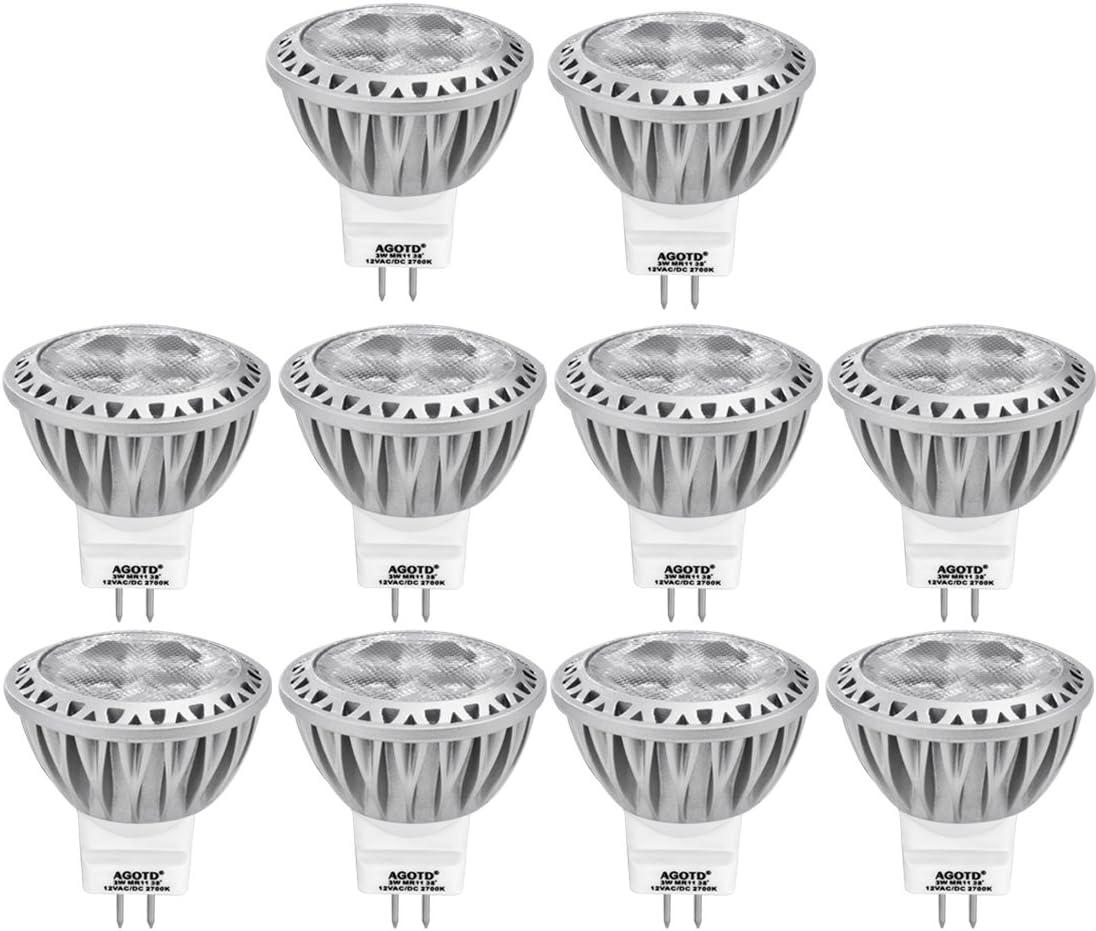 AGOTD 10 x 3W GU4 MR11 Bombilla LED Lámpara 12V, Mini Spot luz, 35 mm de Diámetro.Reemplazo 20 W 25w 30w 35W Lámpara Halógeno, 12V DC AC, 38 Ángulo, 250LM, Blanco Calído 2700K