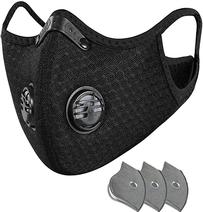 Mascara Reutilizável e lavável com filtro de poeira de carvão ativado Atividades ao ar livre anti-embaciamento + 3 unidades de almofada