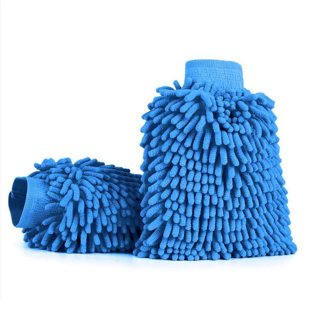 26 x 19 cm Morbidi Coralli AODOOR Guanto Lavaggio Ciniglia Microfibra Pulizia Lavare Guanti Blu Guanto per lavaggio auto