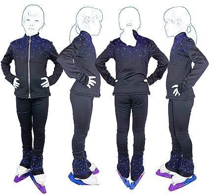 Figure Skating Fleece Women/'s Girls/' Ice SkatingTraining Jacket Black Rhinestone