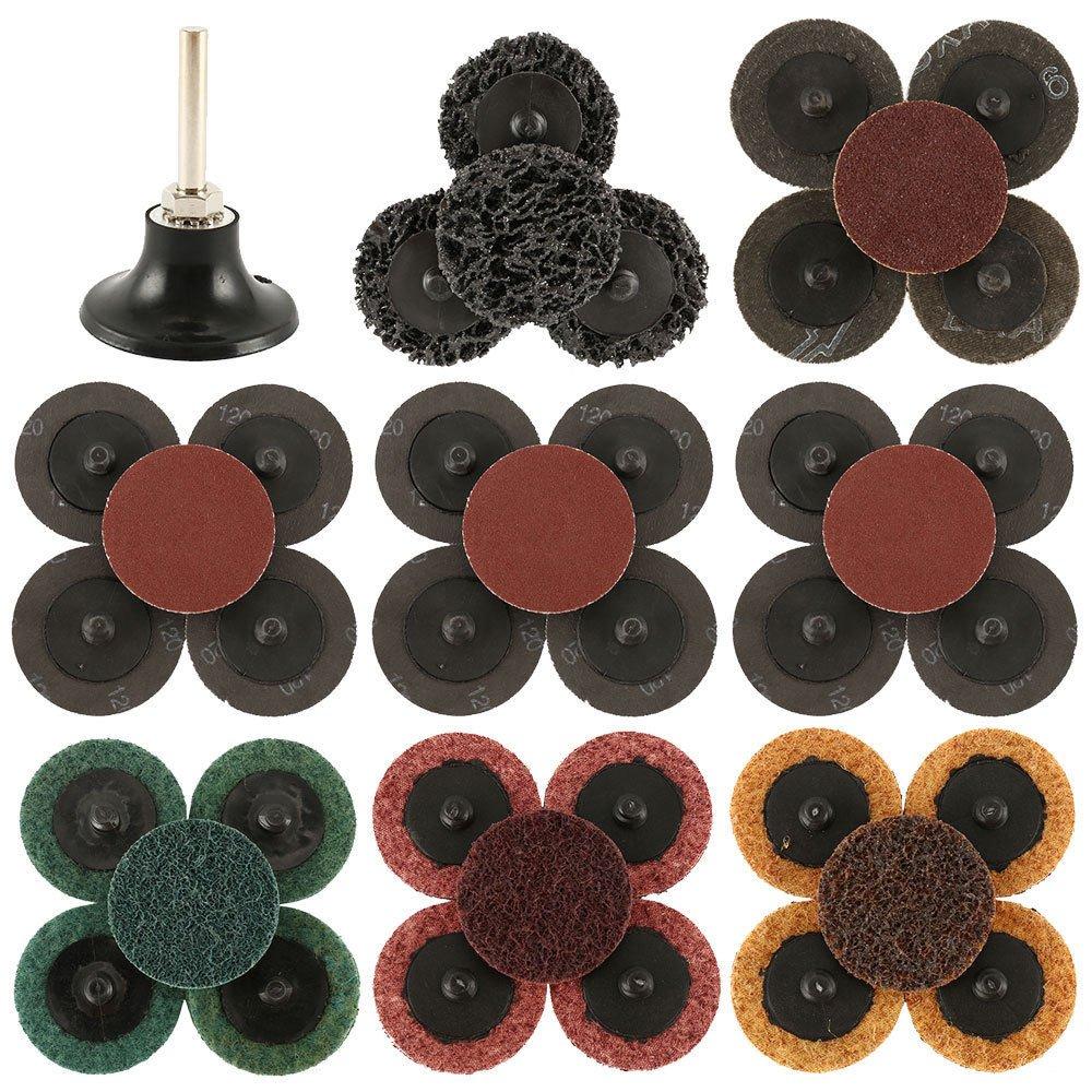 35 Pcs Sanding Discs 2'' Type R Roll Lock Discs Pads Sanding Roloc Abrasives Set