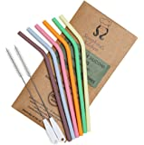 Reusable Drinking Straws – BPA Free Silicone (x6) Standard Width, Eco Friendly Drinking   Premium Food-Grade Certified   2 x Cleaning Brushes, Travel Case, Dishwasher Safe   Say NO to Plastic!