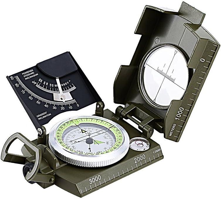 HNYM-Boussole Professionnelle Waterproof en Métal Compas de Visée Fluorescent Equipé de Clinomètre avec Sac de Transport pour Camping Course dOrientation Chasse Excursion Topographie Géologie et dAutres Activités en Plein Air-Vert-1 Pack: Amazon.es: