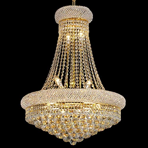 BEIRIO 13-Lights Golden Finish Classic Empire Style K9 Crystal Chandelier Ceiling Light for Living Room Foyer Dining Room Hallway Bedroom 24 31.5 inch New Packaging Easy to Install