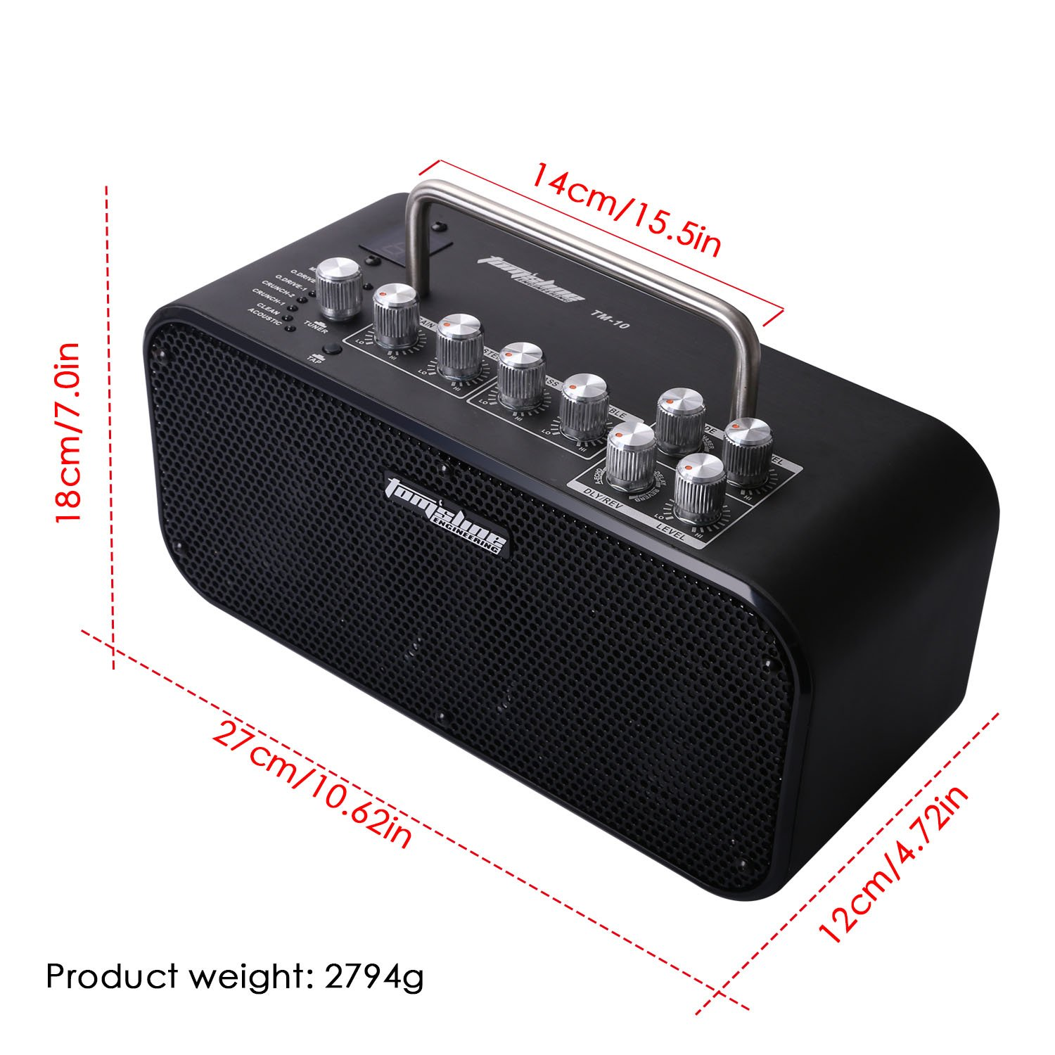Amazon.com: Stereo Guitar Amp AROMA 10W Amplifier Built-in Tuner Tap Foot Switch Function with Effect Volume Tone Control: Home Audio & Theater