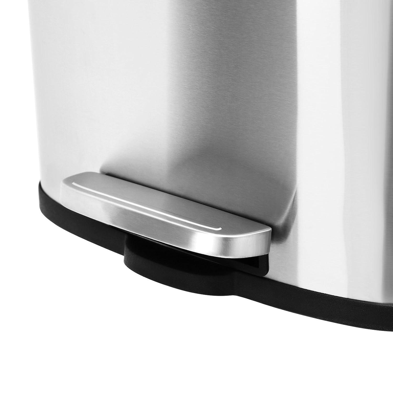 SONGMICS Cubo de Basura con Pedal para Cocina Cierre Suave Basurero de Acero Inoxidable de 30L con Cubeta Interior de pl/ástico a Prueba de Olor desagradable LTB03NL