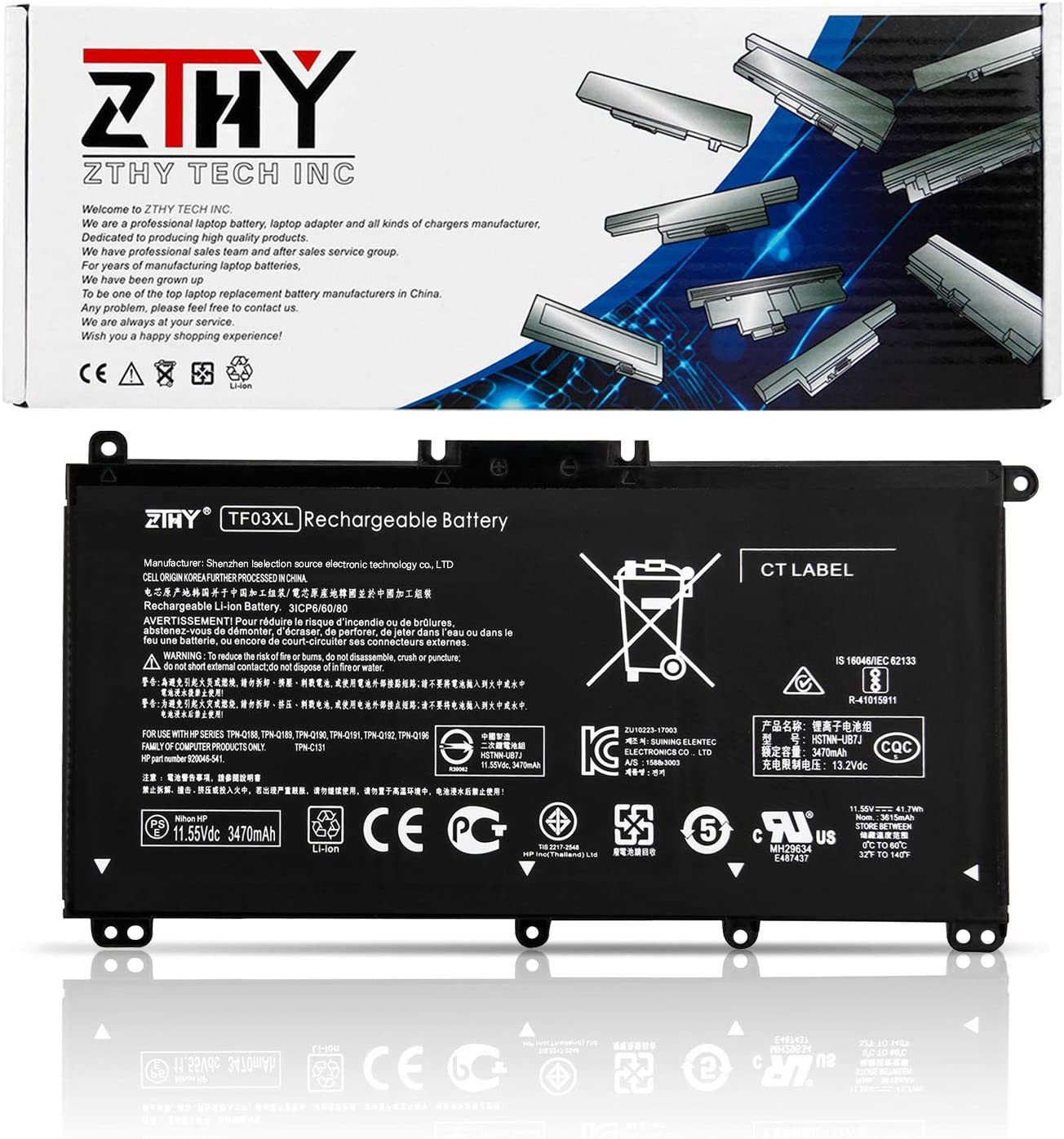 ZTHY TF03XL Laptop Battery for HP Pavilion 15-CC 15-CC023CL CC050WM CC563ST CC0XX CC000 15-CD 15-CD0XX CD000 17-AR050WM 15-CK 15-CK0XX 17-AR 17-AR050WM 17-AR007CA 14-BF 14-BF040WM 14-BK000 Notebook