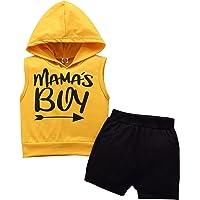 SH-RuiDu Erkek Bebek Kıyafeti, Yenidoğan Küçük Çocuk Kolsuz Kapüşonlu Üst + Şort 2 Parça Giysi Seti