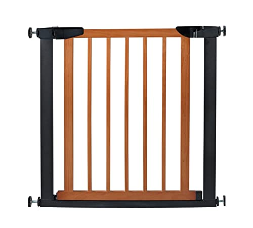 Fairy Baby Pet Baby Gate Narrow Extra Wide for Stairs Metal and Wood Pressure Mounted Safety Walk Through Gate,29 High,Fit Spaces Between 32.28 -35.04 ,Coffee Black 3-7 Days Delivered