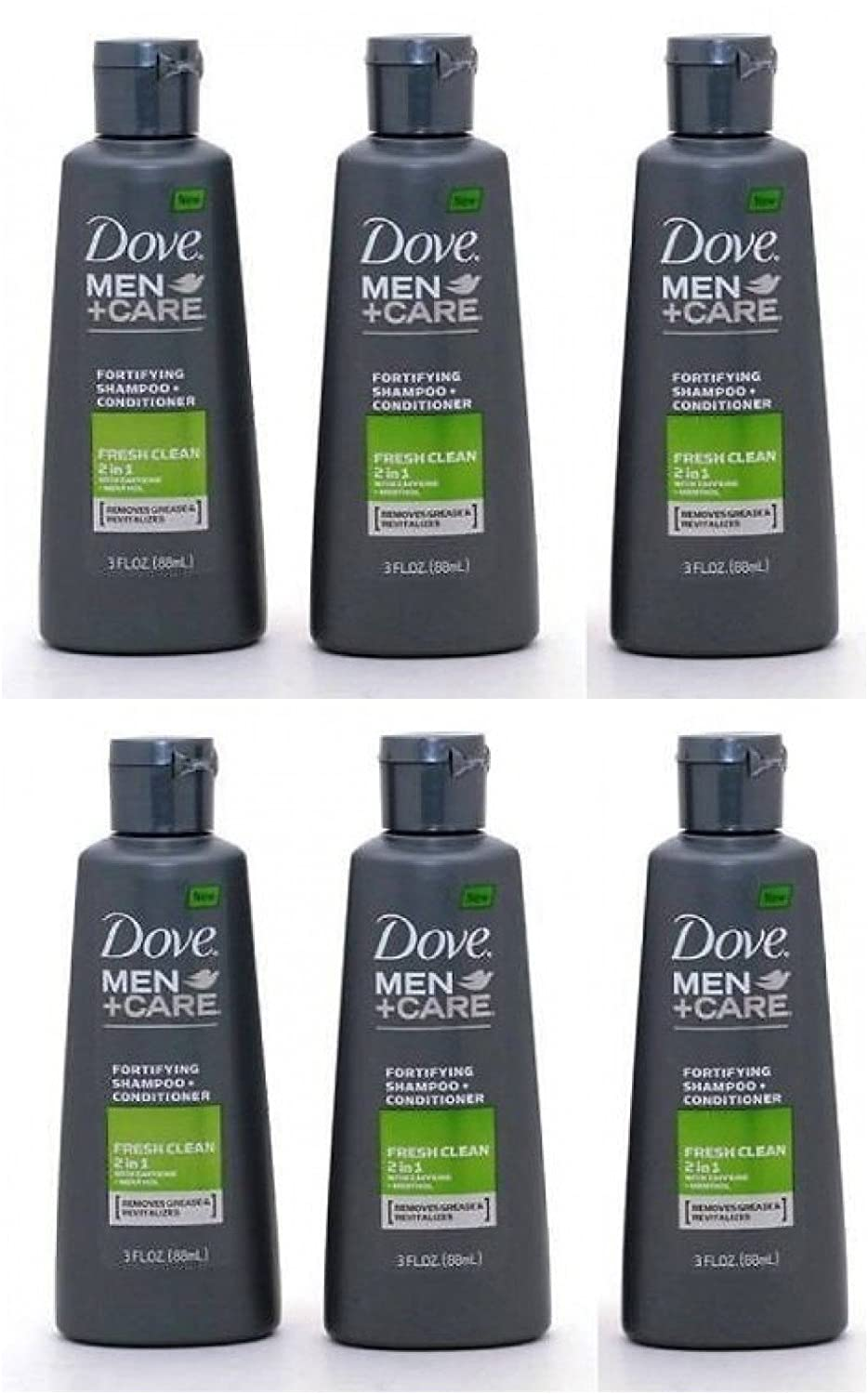 Dove Men+Care 2 in 1 Shampoo + Conditioner Fresh Clean 3 Oz Travel Size (Pack of 6)